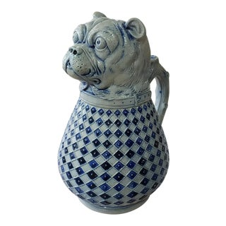 Late 19th Century German Gerz Westerwald Salt Glazed Stoneware Bulldog Absinthe Pitcher For Sale