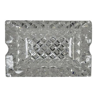Vintage Crystal Cut Glass Diamond French Ashtray Change Dish For Sale