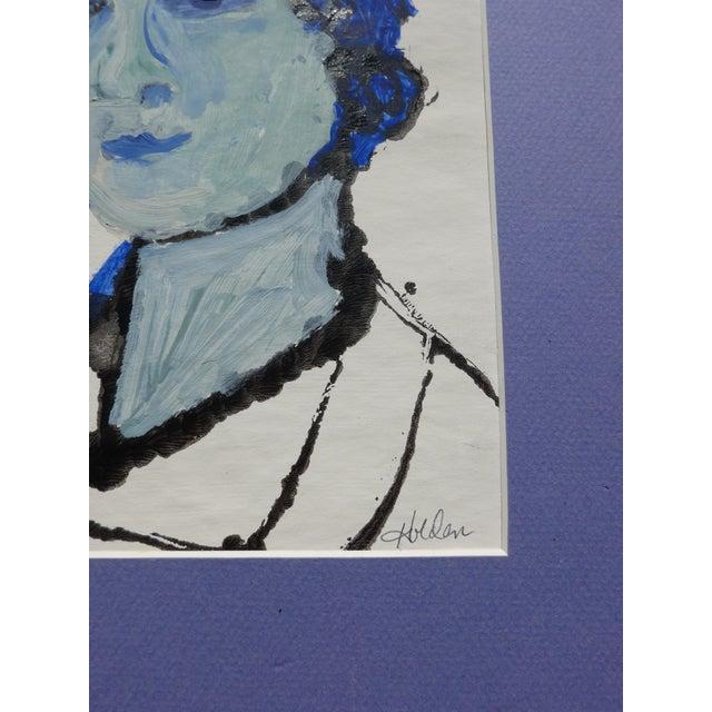 Blue Lady Gouache & Acrylic Painting - Image 3 of 3