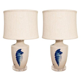 Pair of Blue and White Ceramic Lamps For Sale