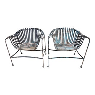 Francois Carre Style Woodard Wrought Iron Chairs - a Pair For Sale