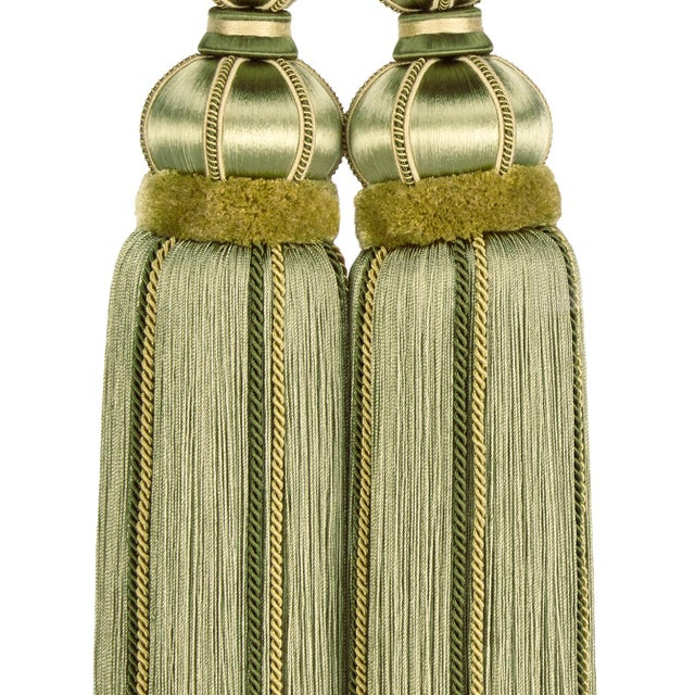 "Wood Double Tassel Tieback With Cut Ruche- Tassel Height 17"" For Sale - Image 7 of 8"