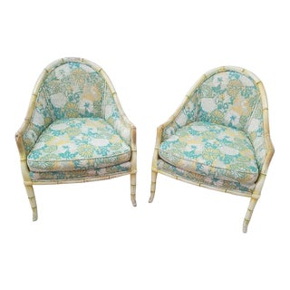 Vintage 1960's Flower Power Faux Bamboo Chairs- A Pair For Sale