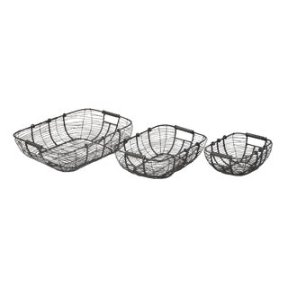 Iron Wire Baskets - Set of 3 For Sale