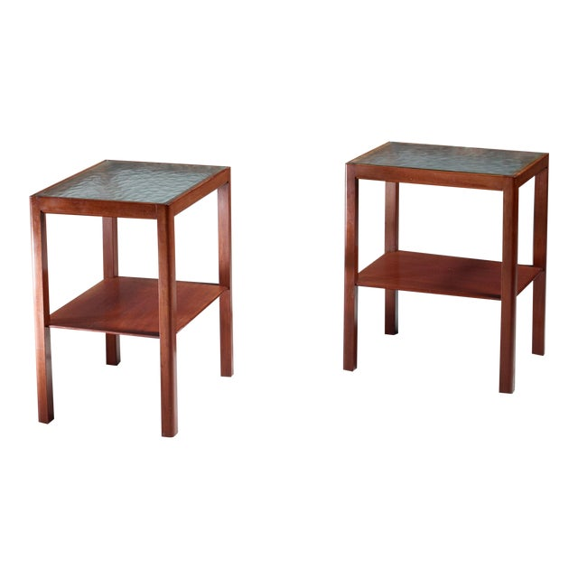 Thorald Madsen Pair of Mahogany Side Tables with Glass Top, Denmark, 1930s - Image 1 of 5