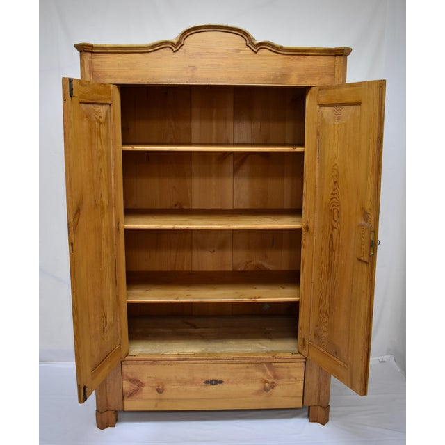 Pitch Pine Bonnet Top Two Door Armoire For Sale - Image 12 of 13