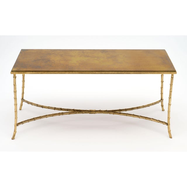 Art Deco Maison Charles Gold Leaf Glass Top Brass Coffee Table For Sale - Image 3 of 10
