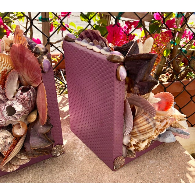 Contemporary Seashell-Encrusted Bookends - A Pair For Sale - Image 3 of 8