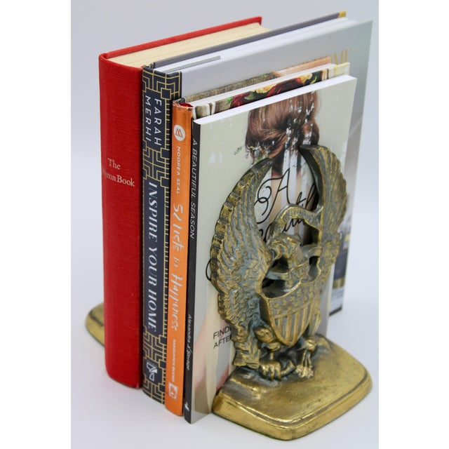 Mid 20th Century Vintage Golden Federal Eagle Cast Iron Bookends - a Pair For Sale - Image 5 of 7