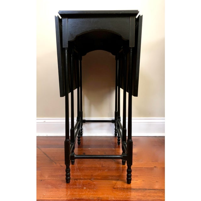1980s Chinoiserie Baker Furniture Black Lacquer Gate Leg Side Table For Sale - Image 6 of 11