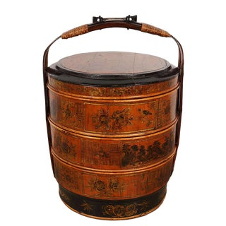 Vintage Chinese Hand Painted 3 Tier Wedding Basket/Lunch Box For Sale