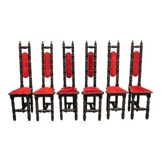 Vintage Spanish Jacobean Renaissance Revival Gothic Red Hall Prayer Chairs - Set of 6 For Sale