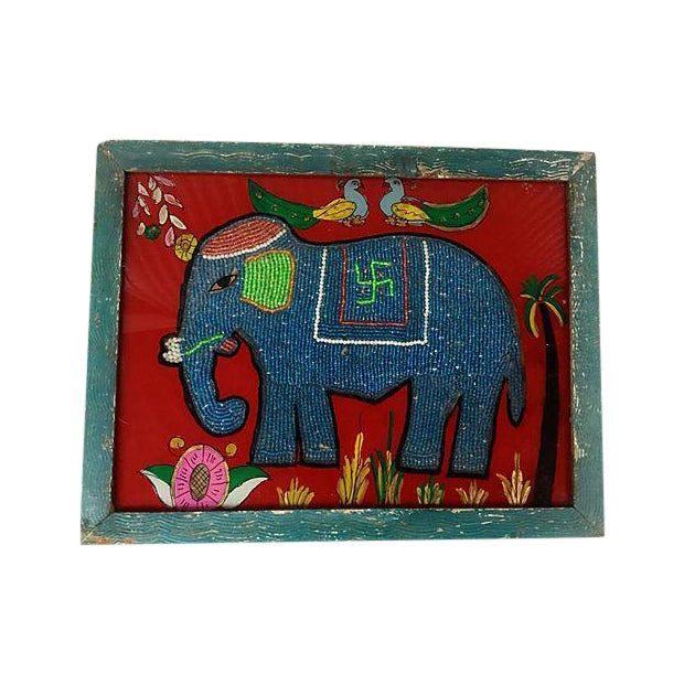 Beaded Indian Elephant Églomisé - Image 1 of 5