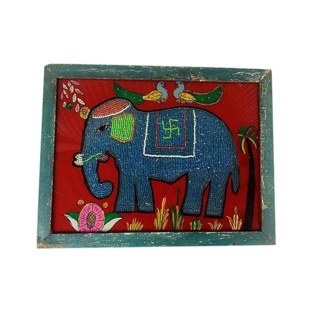 Beaded Indian Elephant Églomisé For Sale