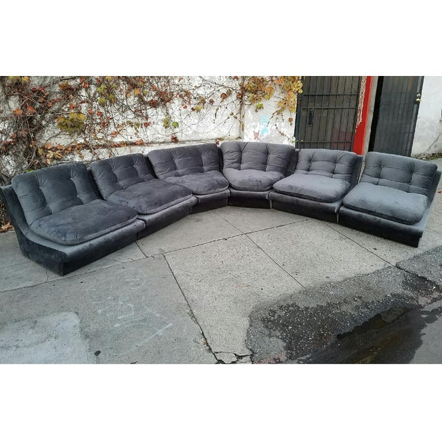 Vladmir Kagan Grey Velvet Sectional Sofa - Image 2 of 5