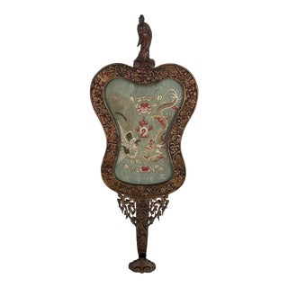 Antique Chinese Guan Yin Carved Gilt Wall Hanging With Inset Dragon & Pheonix Embroidered Silk Panel For Sale