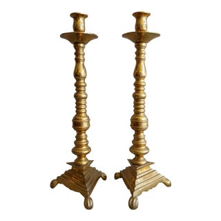 Solid Brass Candlesticks Traditional - a Pair For Sale