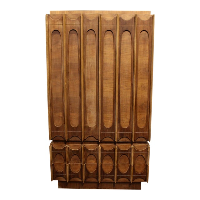 1970s Brutalist Wardrobe Chest on Chest in Natural Walnut, Brasilia Style For Sale