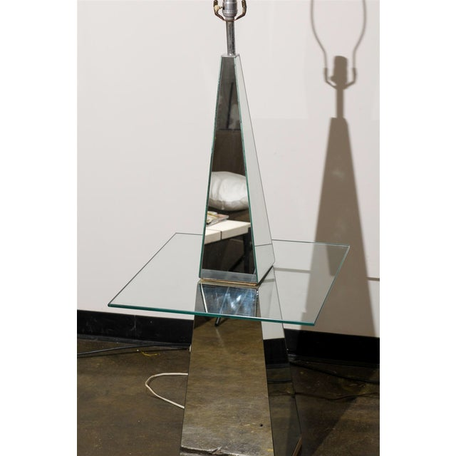 Midcentury Modern Mirrored Floor Lamp With Glass Table For Sale - Image 4 of 6