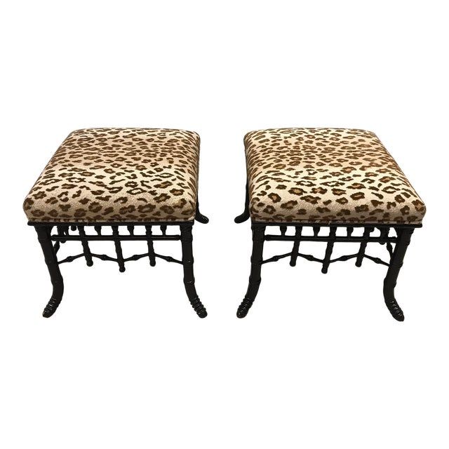 Faux Bamboo Foot Stools with Leopard Upholstery - a Pair For Sale