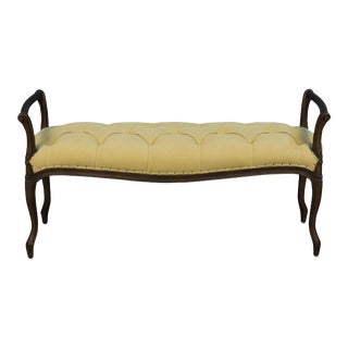 Laurie Olive Green Upholstered Beech Bench For Sale
