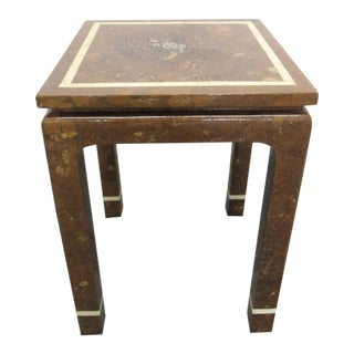 Coconut Shell and Bone Inlaid Side Table For Sale