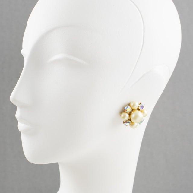 French Elsa Schiaparelli 1960s Clip-On Earrings Pearl Imitation & Borealis Rhinestones For Sale - Image 3 of 7