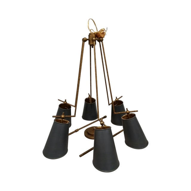 Jean-Louis Brass & Black Chandelier - Image 1 of 3