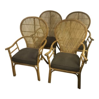 Boho Chic Rattan Bamboo Fan Back Dining Room Chairs - Set of 4 For Sale