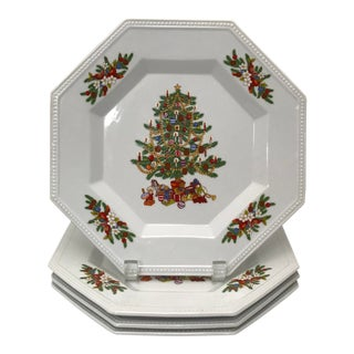 Late 20th Century Hand-Painted Christmas Tree Plates - Set of 4 For Sale