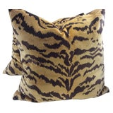 "Image of Scalamandre ""Le Tigre"" Italian Silk Velvet Down Pillows - a Pair For Sale"