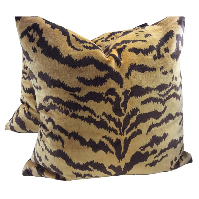 "Scalamandre ""Le Tigre"" Italian Silk Velvet Down Pillows - a Pair For Sale"