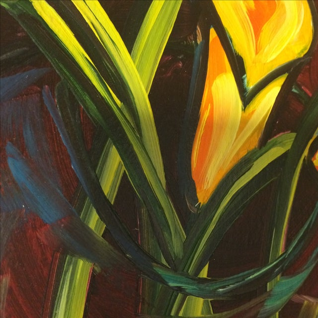 """P. Corthouts """"Callas in Burgundy"""" Acrylic Painting - Image 9 of 9"""