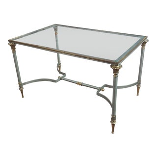 Beautiful Vintage Brass French Coffee Table W/Glass Top For Sale