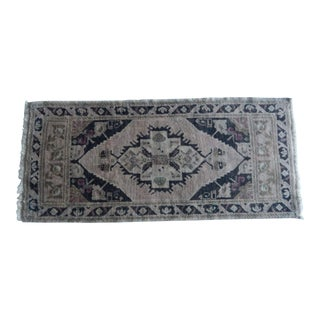 Turkish Antique Small Handmade Traditional Door Mat Small Rug 1′8″ × 3′7″ For Sale