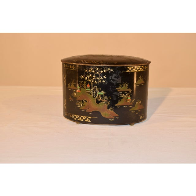 Black Late 19th C Chinoiserie Tea Tin For Sale - Image 8 of 8