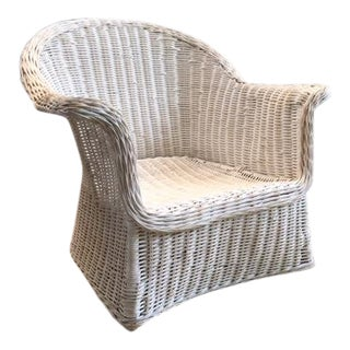 Overscale Mid-Century Modern Chic Wicker Chair