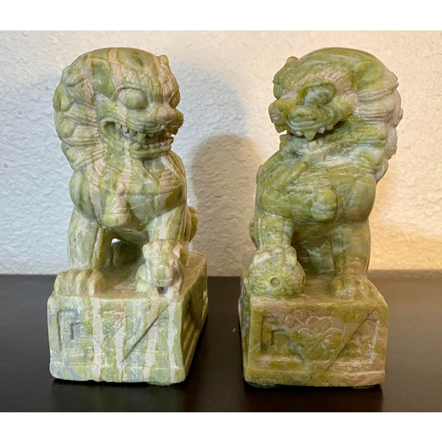 Chinoiserie Vintage Hand Carved Stone Foo Dogs - a Pair For Sale - Image 3 of 7