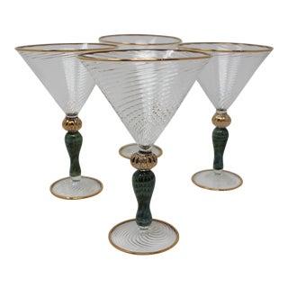 Murano Glass Martini Glasses by Tessaro - Set of 4 For Sale