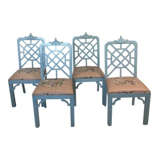 Vintage Mid Century Fretwork Pagoda Chairs- Set of 4 For Sale