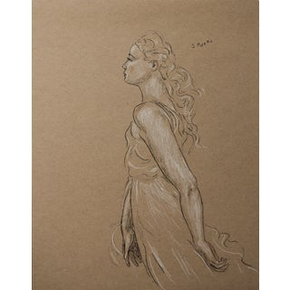 """Figurative Sarah Myers """"Spring Winds"""" Charcoal and Conte Drawing For Sale"""