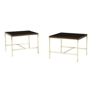 Calvin Furniture 1950's Paul McCobb Brass Frame Side Tables - A Pair For Sale
