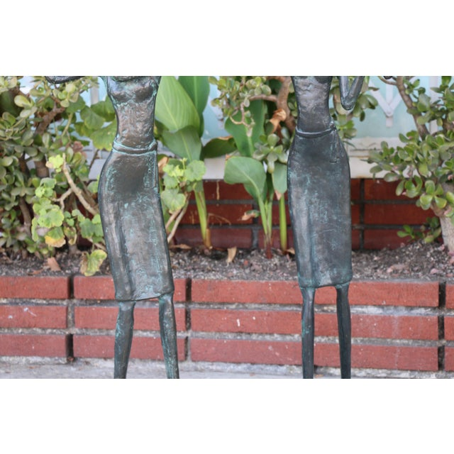 1980s Bronze and Marble Pair of Musician Table Statues For Sale - Image 5 of 11