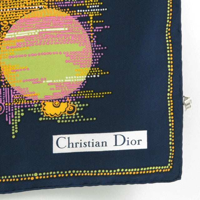 Abstract 1970s Vintage Christian Dior Paris Geometric Print Silk Twill Scarf For Sale - Image 3 of 10