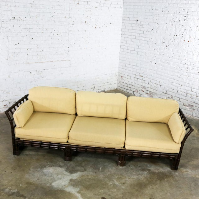 Brown Jordan Windowpane Dark Brown Rattan Sofa With Straw Colored Cushions For Sale - Image 6 of 13