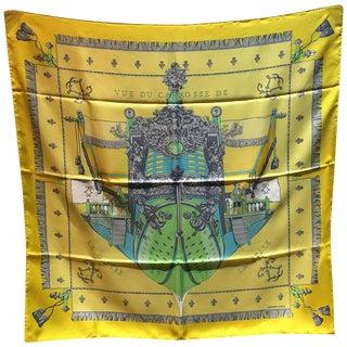 Hermes Yellow Vue De Carrosse De La Galere La Reale Silk Scarf For Sale