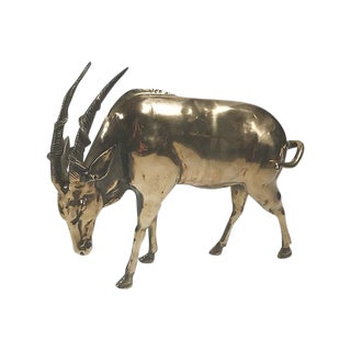 African Solid Brass Oryx For Sale