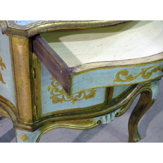 Gold Antique Louis XV Style Distressed Painted Side Table For Sale - Image 8 of 9