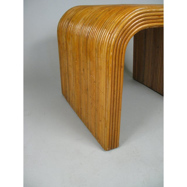 1970s Rattan Waterfall Tables - a Pair For Sale - Image 4 of 8