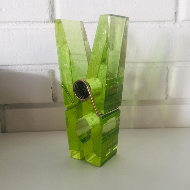 1980s Lime Green Giant Lucite Clothespin For Sale - Image 5 of 12